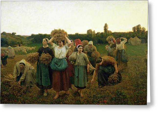 Best Sellers -  - Farmers Field Greeting Cards - Calling in the Gleaners Greeting Card by Jules Breton