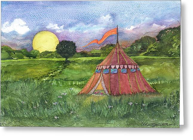 Calliopes Greeting Cards - Calliopes Tent Greeting Card by Casey Rasmussen White