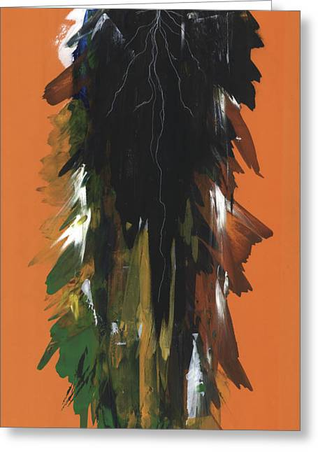 African-american Mixed Media Greeting Cards - Calm After the Storm Orange Greeting Card by Anthony Burks Sr
