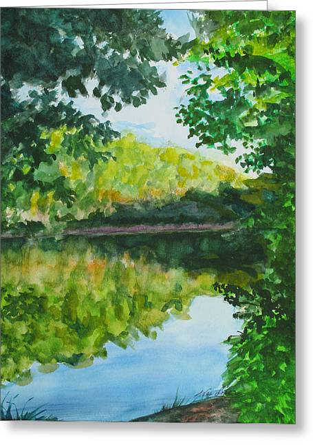 Reflection In Water Greeting Cards - Calm Evening Lake View Greeting Card by Wes Loper