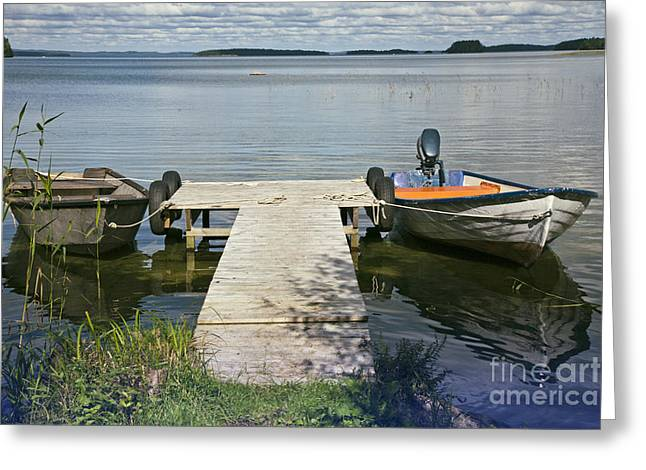 Landing Stage Greeting Cards - Calm  Greeting Card by Heiko Koehrer-Wagner