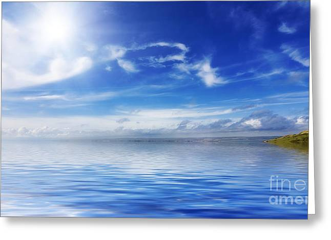 Warm Summer Greeting Cards - Calm seas and blue skies Greeting Card by Simon Bratt Photography LRPS