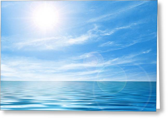 Calm Seas Greeting Cards - Calm seascape Greeting Card by Carlos Caetano
