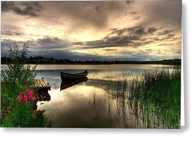 Calm Waters Greeting Cards - Calm Waters on Lough Erne Greeting Card by Kim Shatwell-Irishphotographer