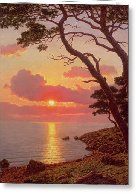 1874 Greeting Cards - Calme de Soir Cote dAzur Greeting Card by Ivan Fedorovich