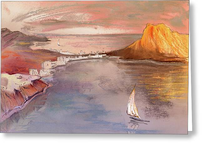 Pena Greeting Cards - Calpe at Sunset Greeting Card by Miki De Goodaboom