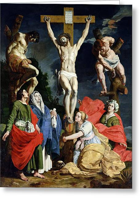Calvary Greeting Cards - Calvary Greeting Card by Abraham Janssens van Nuyssen