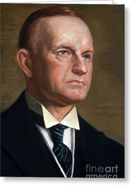 Coolidge Greeting Cards - Calvin Coolidge Greeting Card by Photo Researchers