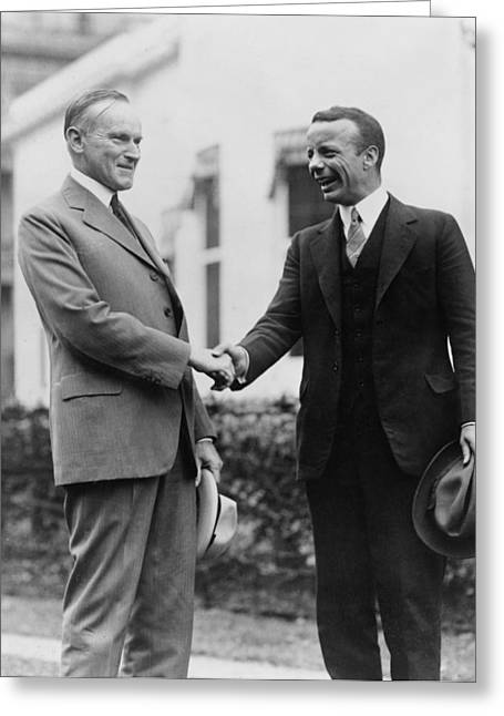 President Of America Greeting Cards - Calvin Coolidge shakes hands with Theodore Roosevelt Jr - c 1924 Greeting Card by International  Images