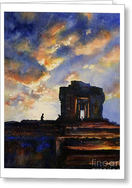 Ancient Ruins Paintings Greeting Cards - Cambodian sunset Greeting Card by Ryan Fox