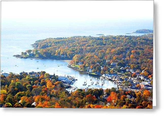 Photorealism Greeting Cards - Camden From Mount Battie Greeting Card by Douglas Auld
