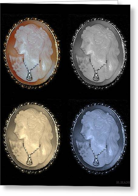 Cameo In Quad Colors Greeting Card by Rob Hans