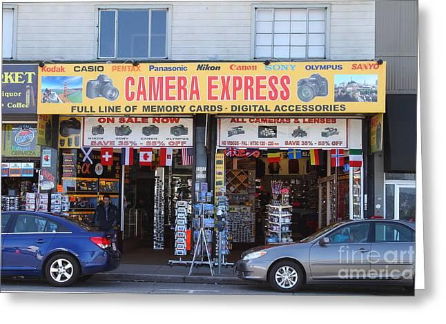 Express Greeting Cards - Camera Express Store at Fishermans Wharf . San Francisco California . 7D14096 Greeting Card by Wingsdomain Art and Photography
