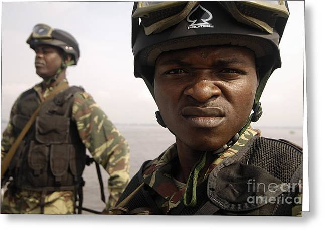 Squinting Greeting Cards - Cameroonian Navy Sailors Greeting Card by Stocktrek Images