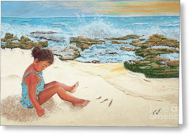 Tourists Pastels Greeting Cards - Camila and the Carribean Sea Greeting Card by Jim Barber Hove