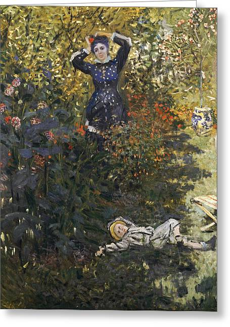 Camille And Jean In The Garden At Argenteuil  Greeting Card by Claude Monet