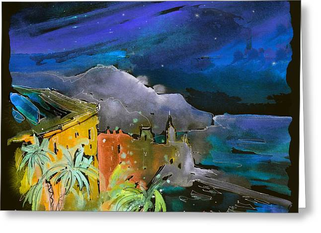 Townscape Digital Art Greeting Cards - Camogli by Night in Italy Greeting Card by Miki De Goodaboom