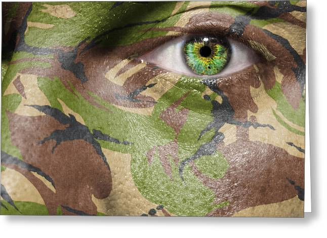 Terrorism Greeting Cards - Camouflage Warrior Greeting Card by Semmick Photo