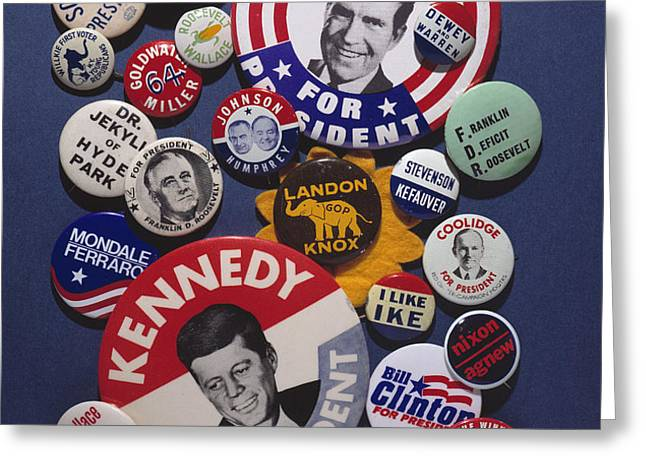 CAMPAIGN BUTTONS Greeting Card by Granger