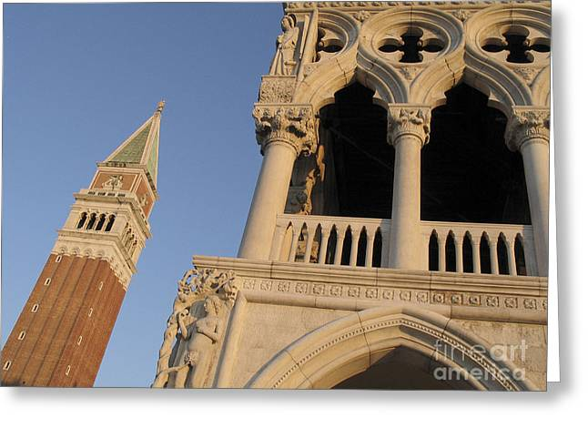 Campanile Greeting Cards - Campanile and palace ducal. Venice Greeting Card by Bernard Jaubert