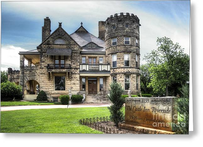Kansas Landscape Art Greeting Cards - Campbell Castle Street View Greeting Card by Fred Lassmann