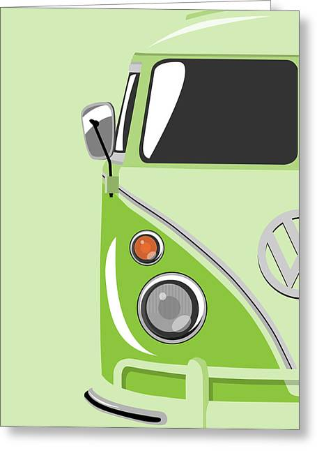 Vw Greeting Cards - Camper Green Greeting Card by Michael Tompsett