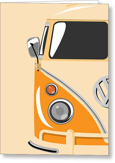 Retro Art Greeting Cards - Camper Orange Greeting Card by Michael Tompsett