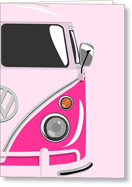 Bus Greeting Cards - Camper Pink 2 Greeting Card by Michael Tompsett