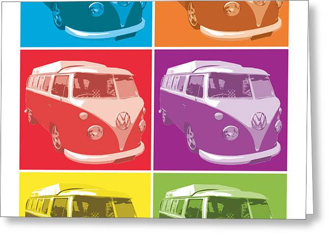 Camper Van Pop Art Greeting Card by Michael Tompsett