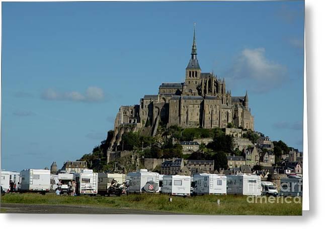 Sami Sarkis Greeting Cards - Campervans parked beneath Mont Saint-Michel Greeting Card by Sami Sarkis