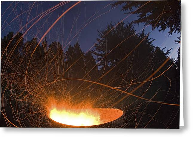 Big Sur California Greeting Cards - Campfire At Plaskett Creek Campground Greeting Card by Rich Reid