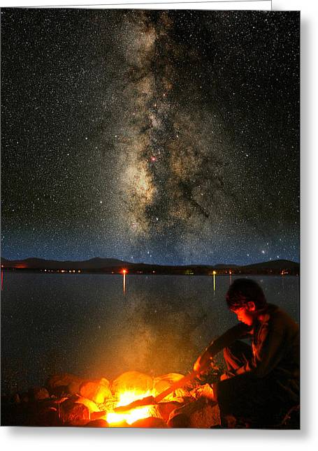 Outerspace Greeting Cards - Campfire Milky Way Greeting Card by Larry Landolfi