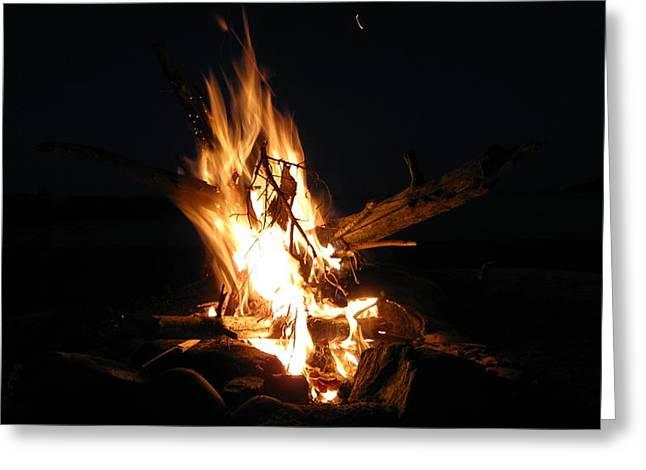 Canoe Pyrography Greeting Cards - Campfire On A Beach Greeting Card by Waldemar Okon