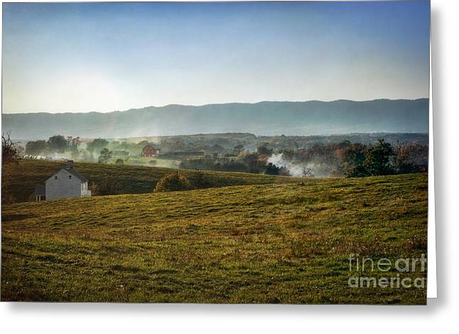 Cedar Creek Greeting Cards - Campfire Smoke at Cedar Creek Battlefield Greeting Card by Susan Isakson
