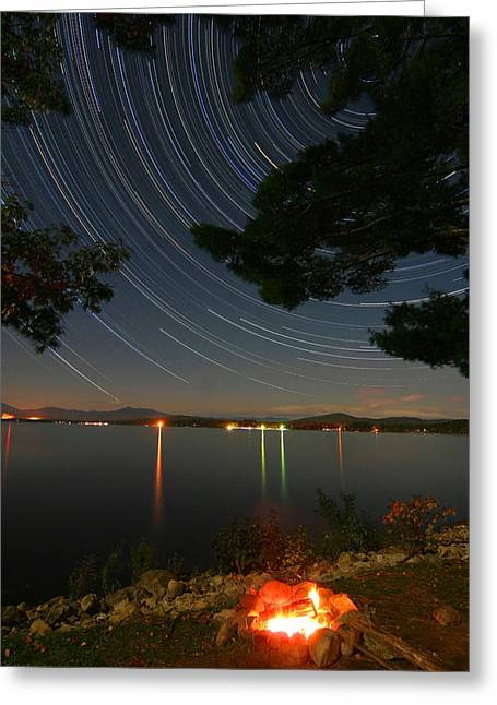 Rotation Greeting Cards - Campfire Star Trails Greeting Card by Larry Landolfi