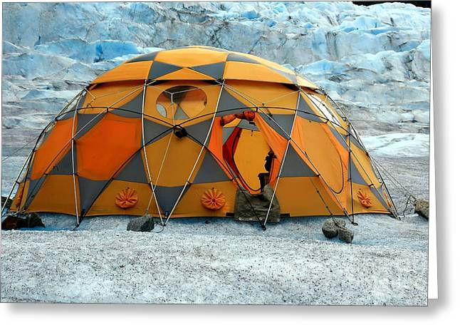 Juneau Park Greeting Cards - Camping on a Glacier Greeting Card by Sophie Vigneault