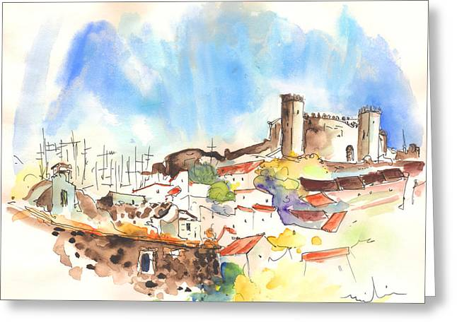 Townscape Drawings Greeting Cards - Campo Maior in Portugal 02 Greeting Card by Miki De Goodaboom
