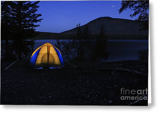 Opening Night Greeting Cards - Campsite at Night Greeting Card by Ned Frisk