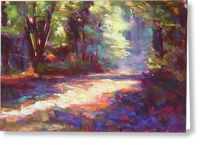 Camping Pastels Greeting Cards - Campsite Path 2 Greeting Card by Mary McInnis
