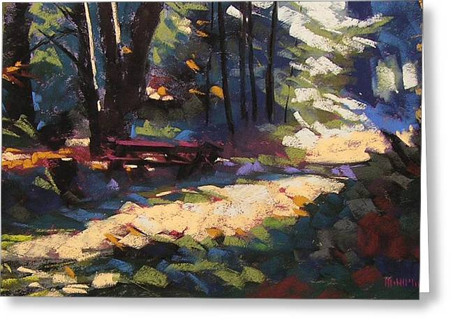 Camping Pastels Greeting Cards - Campsite Path I Greeting Card by Mary McInnis