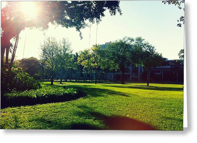 University Of Miami Greeting Cards - Campus Life Greeting Card by Teff