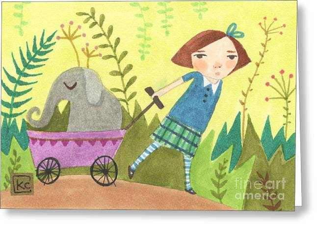 Wagon Drawings Greeting Cards - Can I Keep Him? Greeting Card by Kate Cosgrove