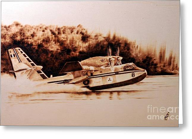 Propeller Pyrography Greeting Cards - Canadair Greeting Card by Ilaria Andreucci