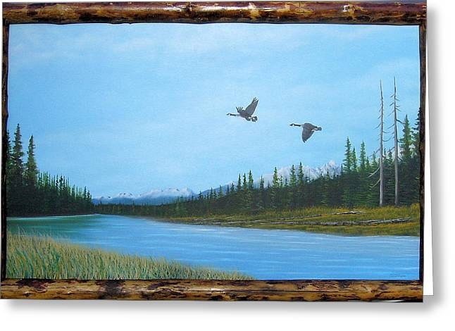 Canadian Geese On The Kootenay Greeting Card by William Flexhaugh
