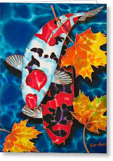 Pond Tapestries - Textiles Greeting Cards - Canadian Koi Greeting Card by Daniel Jean-Baptiste