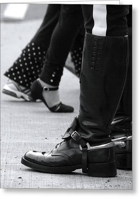 Shin Guard Greeting Cards - Canadian Mountie Boots Greeting Card by Janet Smith