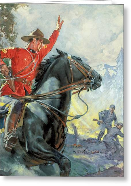 Canadian Wilderness Greeting Cards - Canadian Mounties Greeting Card by James Edwin McConnell