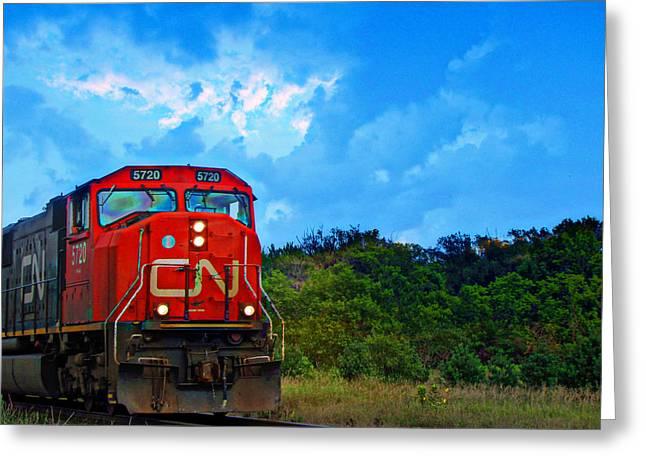 Headlight Mixed Media Greeting Cards - Canadian Northern Railway Train Greeting Card by Ms Judi