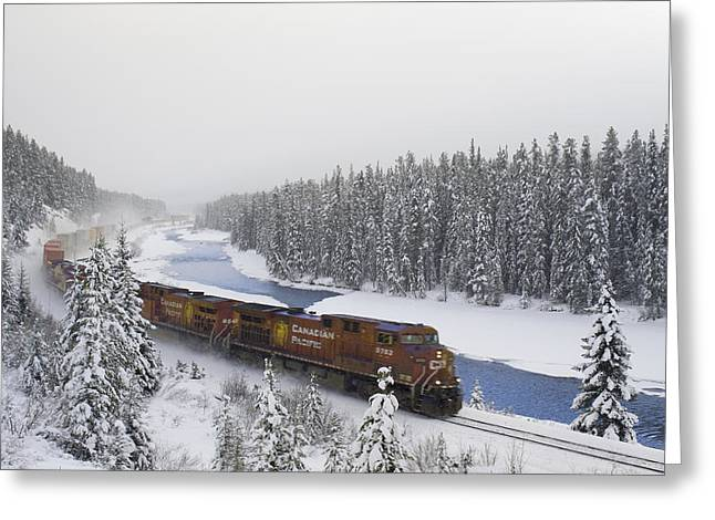 Freight Train Greeting Cards - Canadian Pacific Train At Morants Curve Greeting Card by Darwin Wiggett