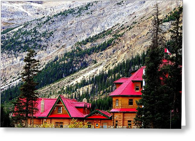Cabin Window Greeting Cards - Canadian Red Greeting Card by Karen Wiles